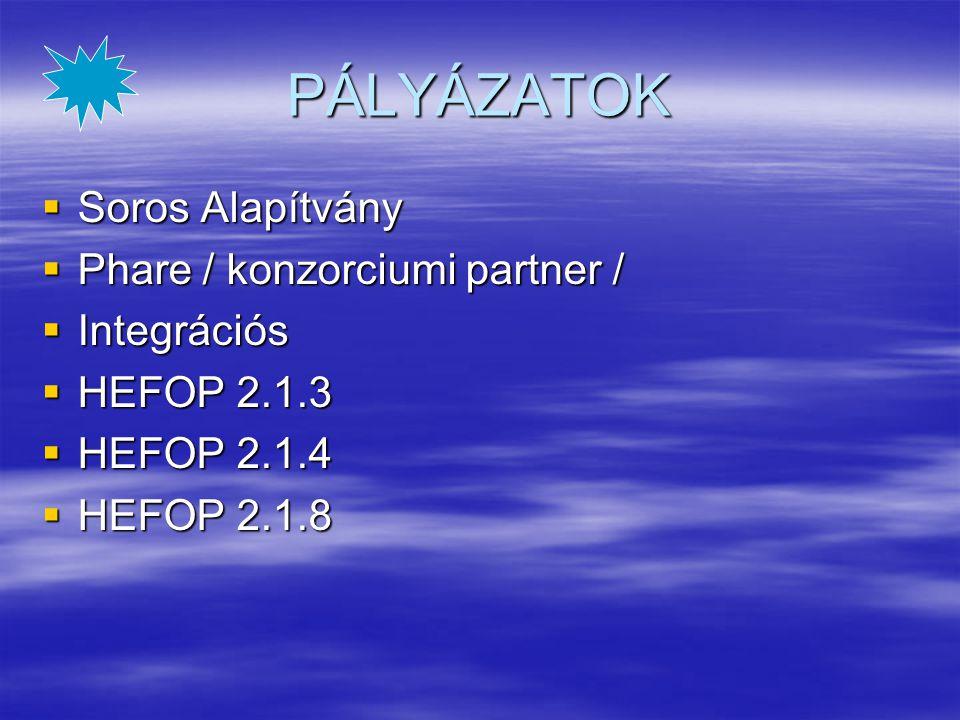 PÁLYÁZATOK  Soros Alapítvány  Phare / konzorciumi partner /  Integrációs  HEFOP 2.1.3  HEFOP 2.1.4  HEFOP 2.1.8