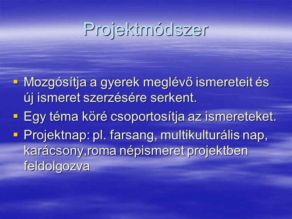 Projektmódszer  Mozgósítja a gyerek meglévő ismereteit és új ismeret szerzésére serkent.