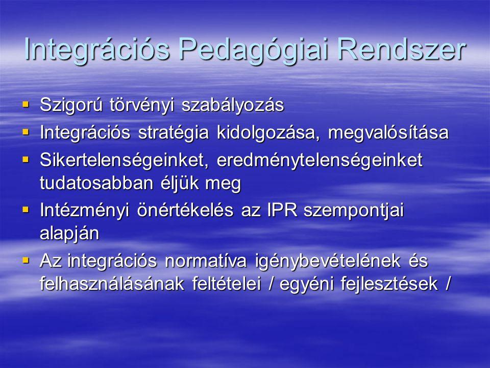 Integrációs Pedagógiai Rendszer  Szigorú törvényi szabályozás  Integrációs stratégia kidolgozása, megvalósítása  Sikertelenségeinket, eredménytelenségeinket tudatosabban éljük meg  Intézményi önértékelés az IPR szempontjai alapján  Az integrációs normatíva igénybevételének és felhasználásának feltételei / egyéni fejlesztések /