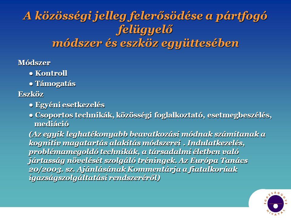 A közösségi jelleg felerősödése a pártfogó felügyelő módszer és eszköz együttesében Módszer ● Kontroll ● Támogatás Eszköz ● Egyéni esetkezelés ● Csopo