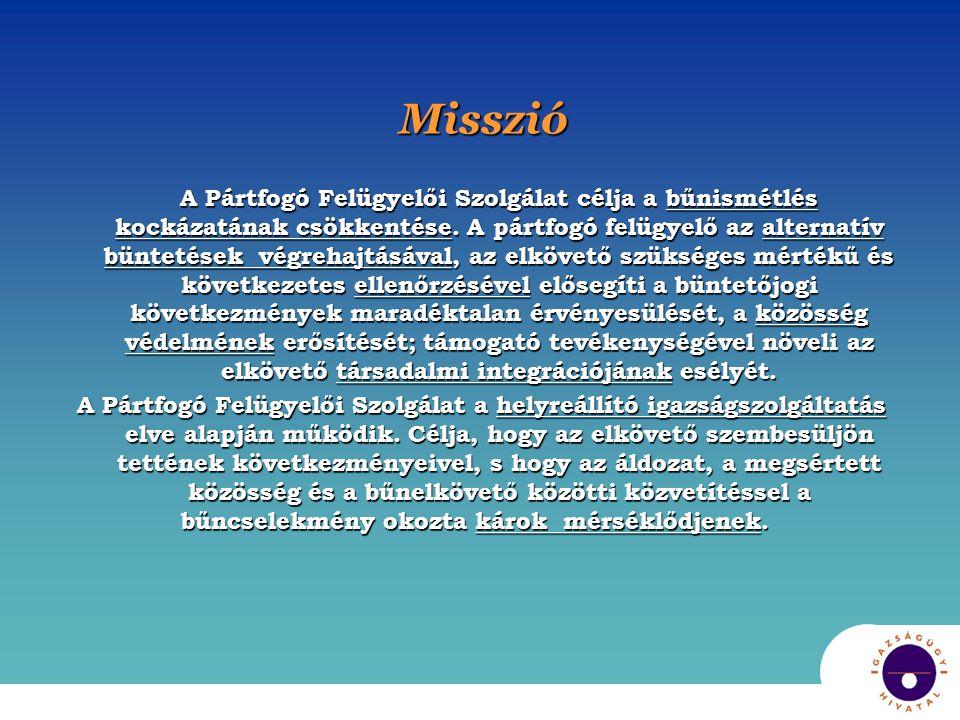Misszió A Pártfogó Felügyelői Szolgálat célja a bűnismétlés kockázatának csökkentése. A pártfogó felügyelő az alternatív büntetések végrehajtásával, a