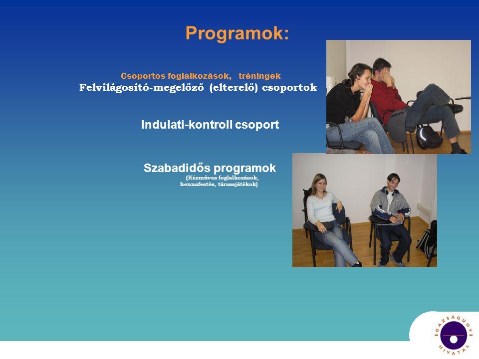 Programok: Csoportos foglalkozások, tréningek Felvilágosító-megelőző (elterelő) csoportok Indulati-kontroll csoport Szabadidős programok (Kézműves foglalkozások, hennafestés, társasjátékok)