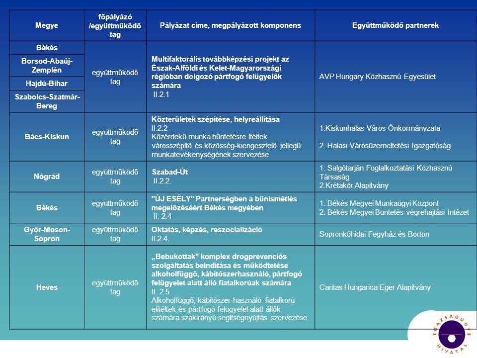 Megye főpályázó /együttműködő tag Pályázat címe, megpályázott komponensEgyüttműködő partnerek Békés együttműködő tag Multifaktorális továbbképzési projekt az Észak-Alföldi és Kelet-Magyarországi régióban dolgozó pártfogó felügyelők számára II.2.1 AVP Hungary Közhasznú Egyesület Borsod-Abaúj- Zemplén Hajdú-Bihar Szabolcs-Szatmár- Bereg Bács-Kiskun együttműködő tag Közterületek szépítése, helyreállítása II.2.2 Közérdekű munka büntetésre ítéltek városszépítő és közösség-kiengesztelő jellegű munkatevékenységének szervezése 1.Kiskunhalas Város Önkormányzata 2.