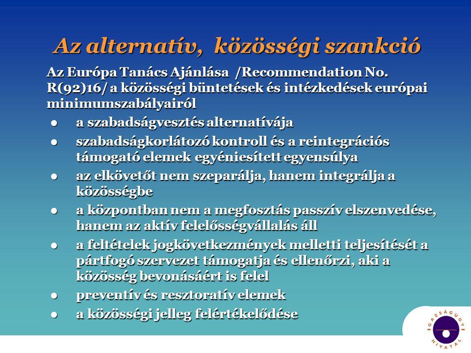 Az alternatív, közösségi szankció Az Európa Tanács Ajánlása /Recommendation No. R(92)16/ a közösségi büntetések és intézkedések európai minimumszabály