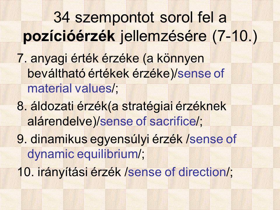34 szempontot sorol fel a pozícióérzék jellemzésére (7-10.) 7.