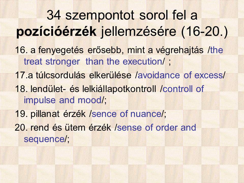 34 szempontot sorol fel a pozícióérzék jellemzésére (16-20.) 16.