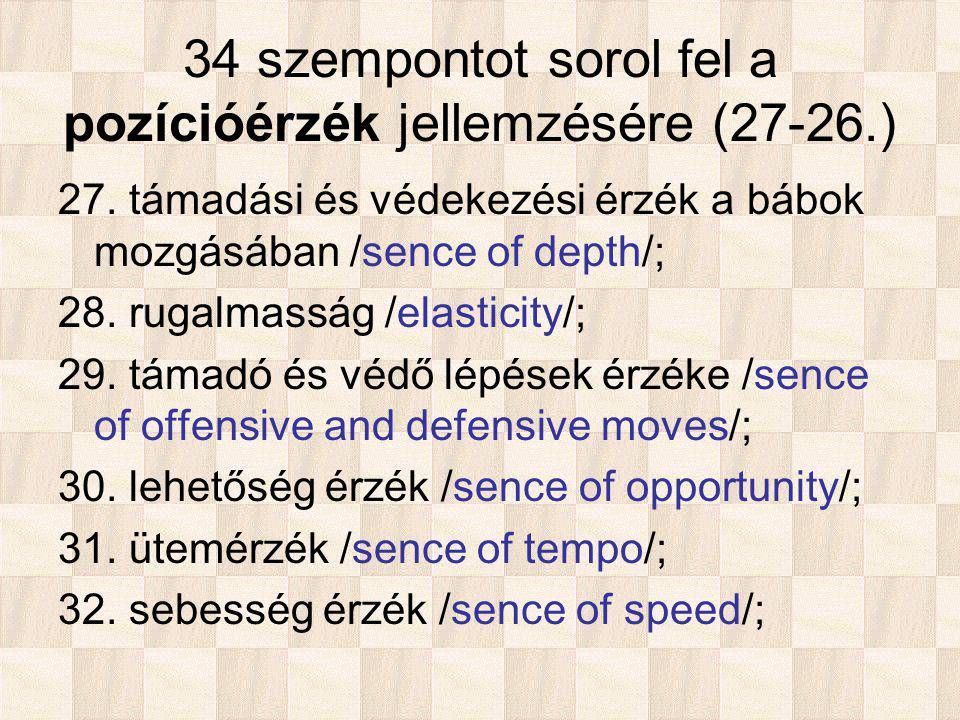 34 szempontot sorol fel a pozícióérzék jellemzésére (27-26.) 27.