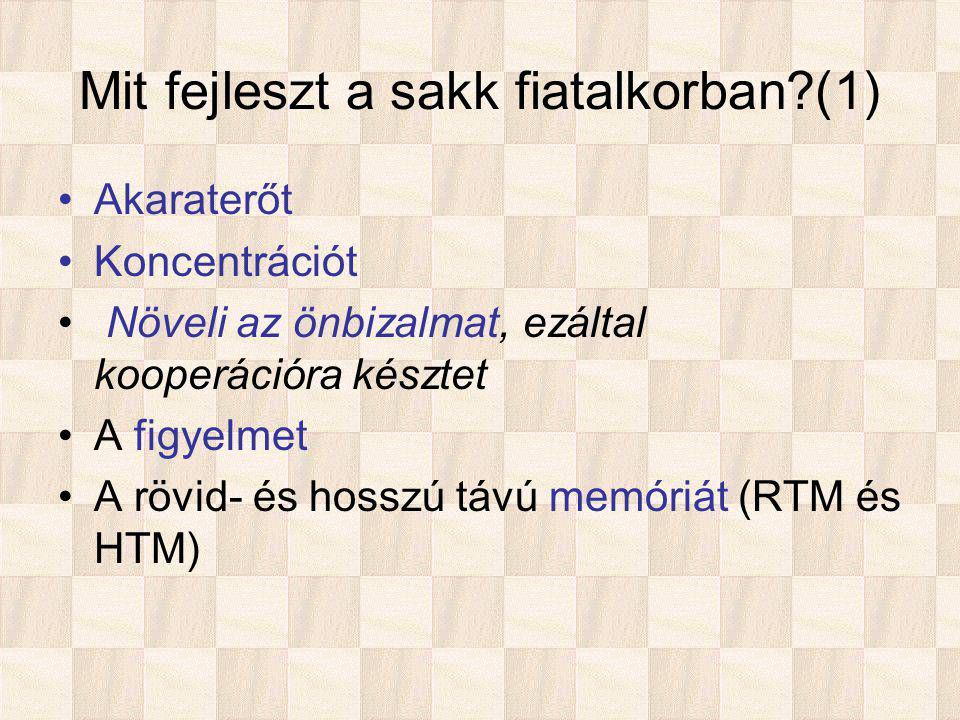 Mit fejleszt a sakk fiatalkorban (1) Akaraterőt Koncentrációt Növeli az önbizalmat, ezáltal kooperációra késztet A figyelmet A rövid- és hosszú távú memóriát (RTM és HTM)