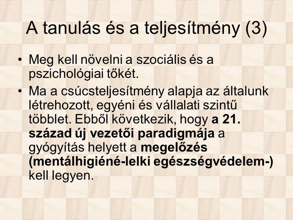A tanulás és a teljesítmény (3) Meg kell növelni a szociális és a pszichológiai tőkét.