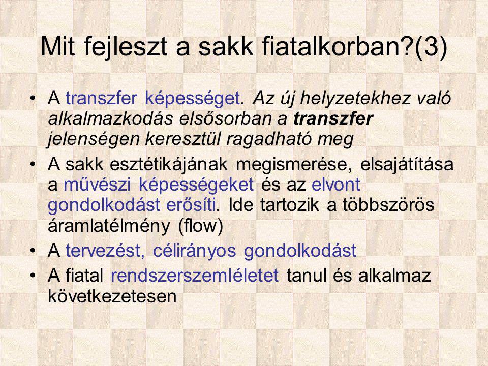 Mit fejleszt a sakk fiatalkorban (3) A transzfer képességet.