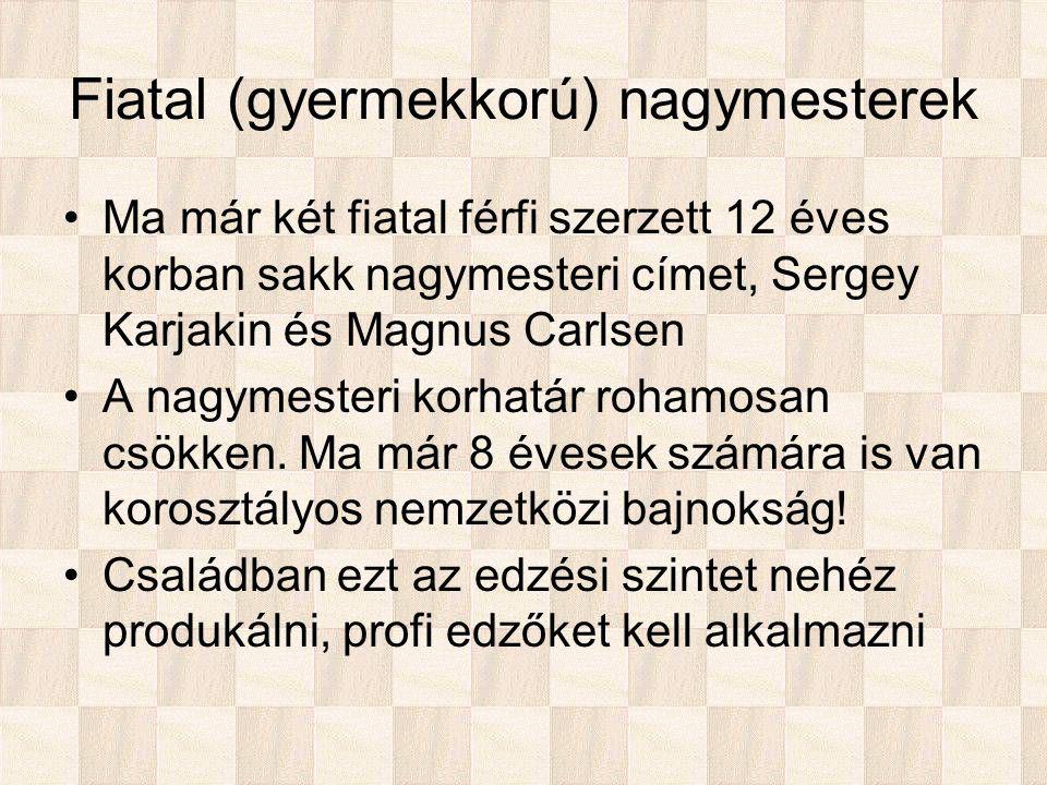 Fiatal (gyermekkorú) nagymesterek Ma már két fiatal férfi szerzett 12 éves korban sakk nagymesteri címet, Sergey Karjakin és Magnus Carlsen A nagymesteri korhatár rohamosan csökken.
