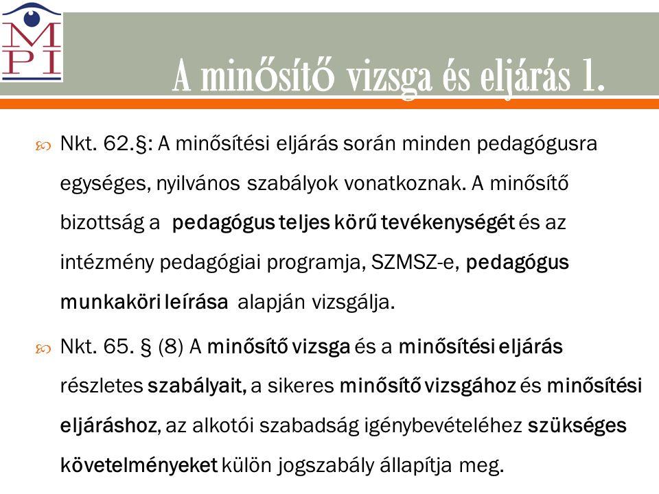  Nkt. 62.§: A minősítési eljárás során minden pedagógusra egységes, nyilvános szabályok vonatkoznak. A minősítő bizottság a pedagógus teljes körű tev