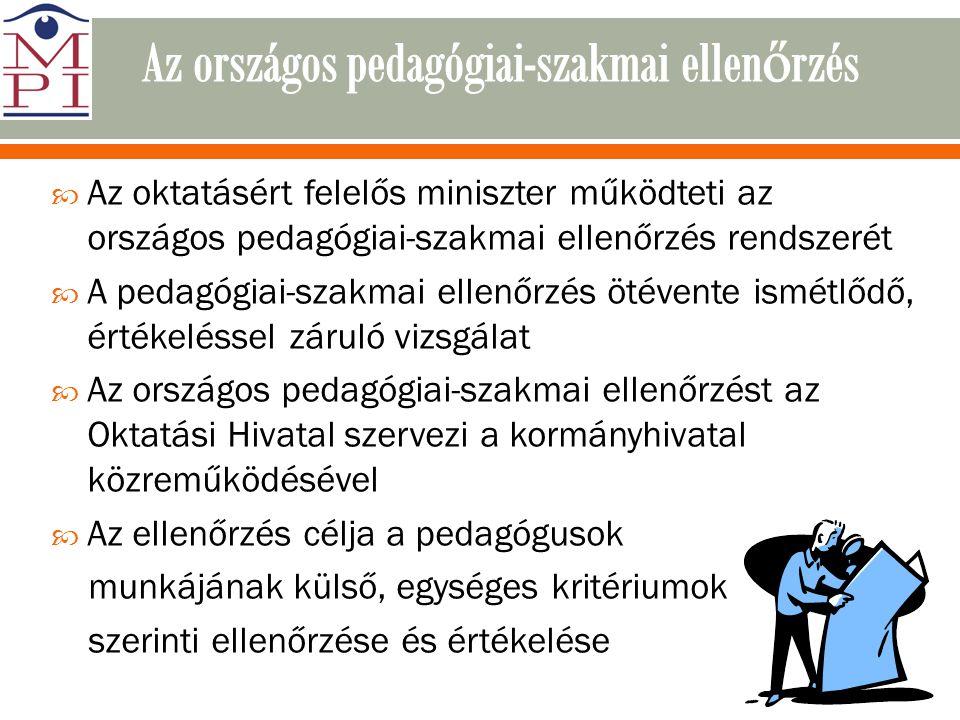  Az oktatásért felelős miniszter működteti az országos pedagógiai-szakmai ellenőrzés rendszerét  A pedagógiai-szakmai ellenőrzés ötévente ismétlődő,