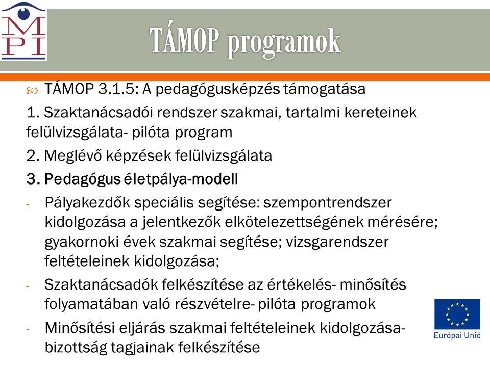  TÁMOP 3.1.5: A pedagógusképzés támogatása 1. Szaktanácsadói rendszer szakmai, tartalmi kereteinek felülvizsgálata- pilóta program 2. Meglévő képzése
