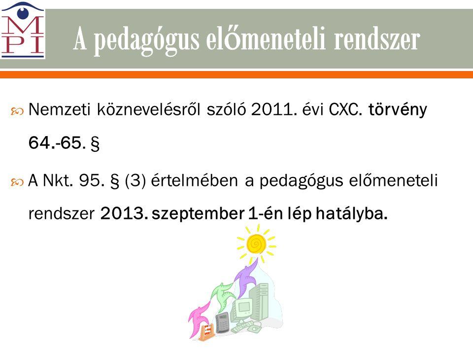  Nemzeti köznevelésről szóló 2011. évi CXC. törvény 64.-65. §  A Nkt. 95. § (3) értelmében a pedagógus előmeneteli rendszer 2013. szeptember 1-én lé