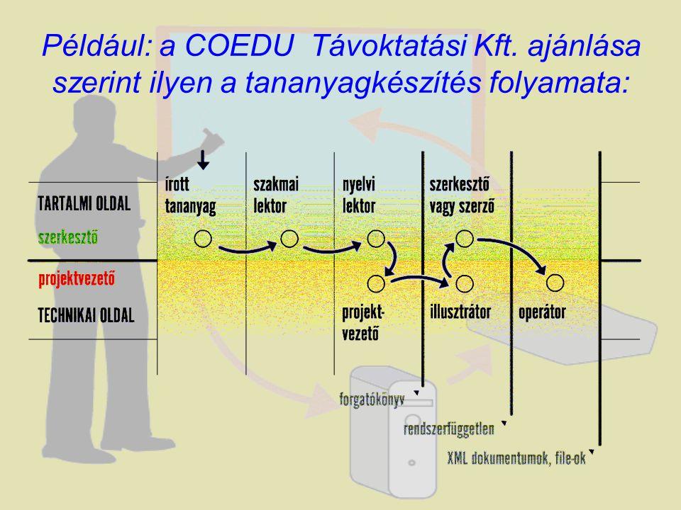 Például: a COEDU Távoktatási Kft. ajánlása szerint ilyen a tananyagkészítés folyamata: