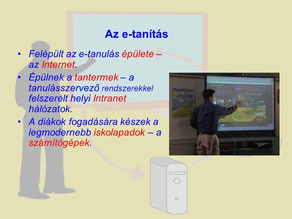 Felépült az e-tanulás épülete – az Internet. Épülnek a tantermek – a tanulásszervező rendszerekkel felszerelt helyi Intranet hálózatok. A diákok fogad