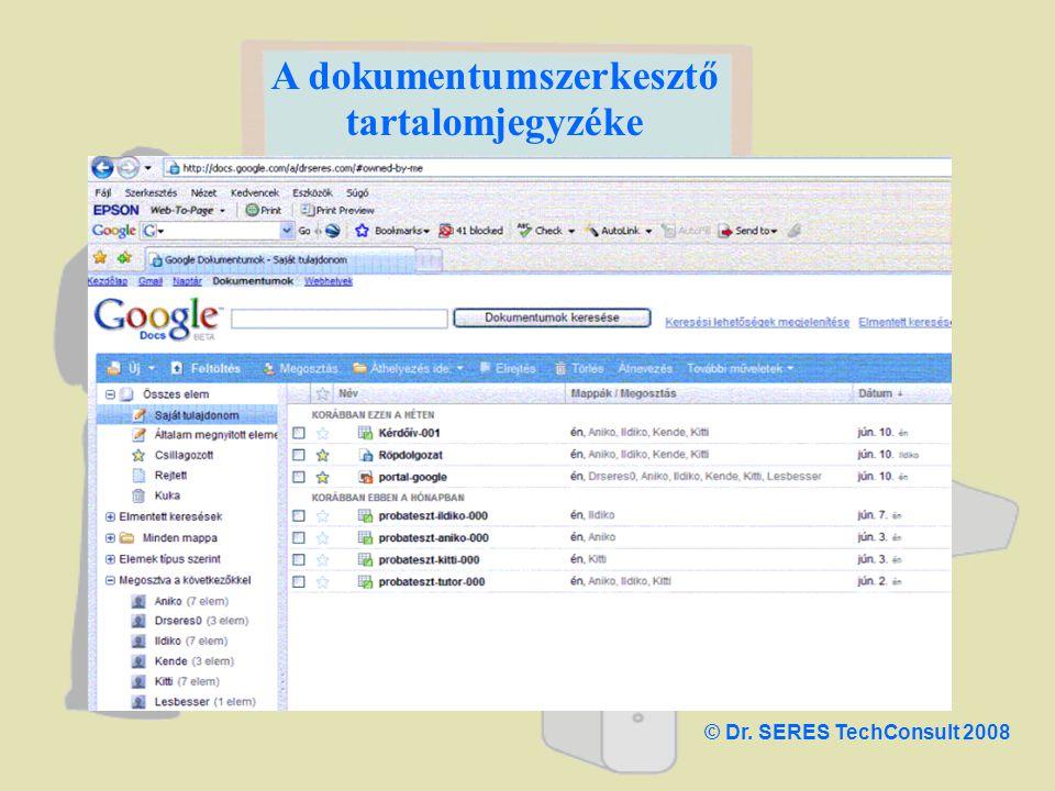 A dokumentumszerkesztő tartalomjegyzéke © Dr. SERES TechConsult 2008