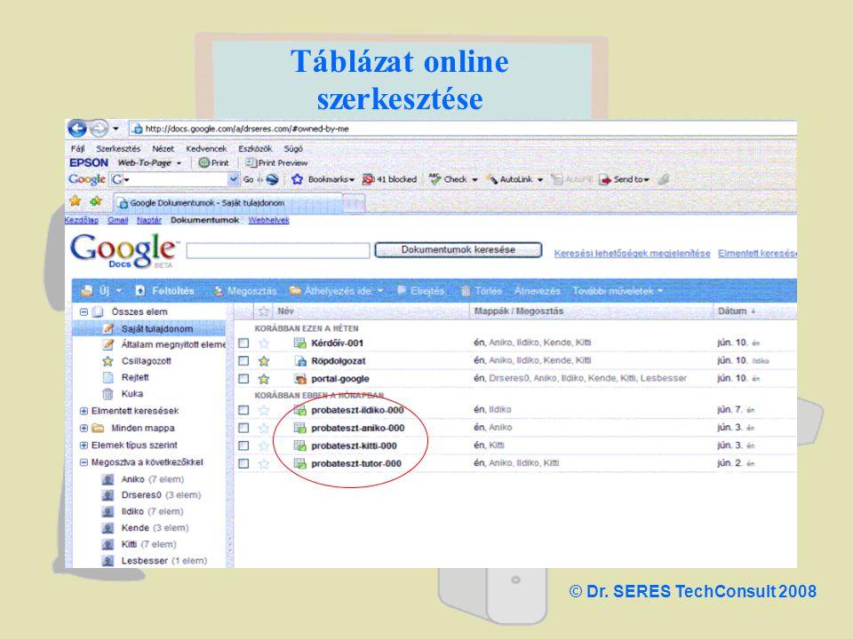 Táblázat online szerkesztése © Dr. SERES TechConsult 2008