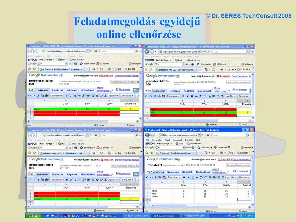Feladatmegoldás egyidejű online ellenőrzése © Dr. SERES TechConsult 2008