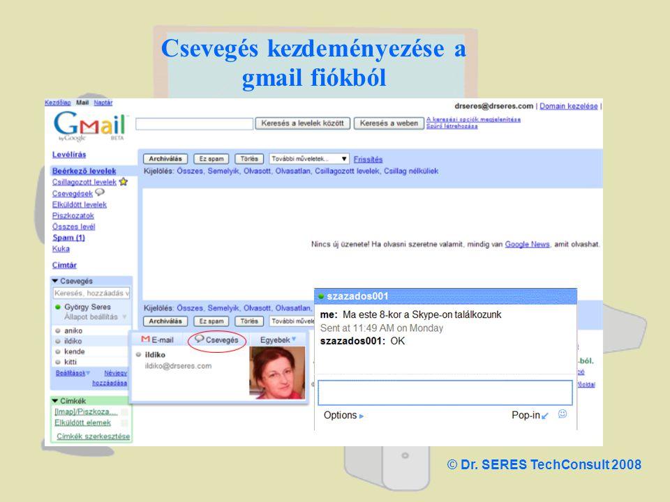 Csevegés kezdeményezése a gmail fiókból © Dr. SERES TechConsult 2008