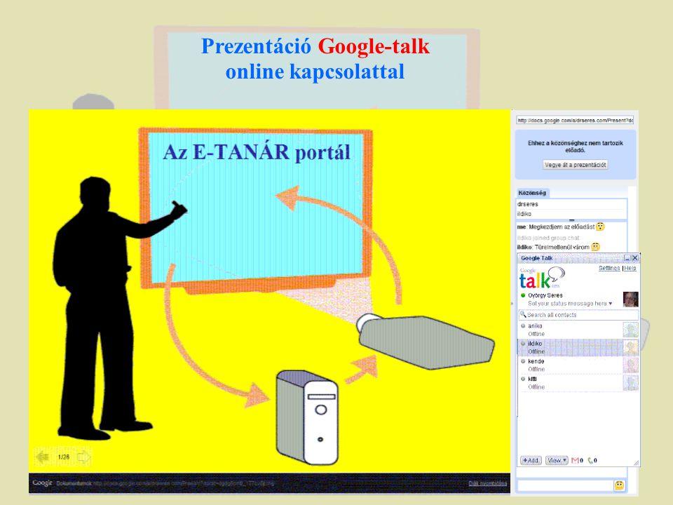 Prezentáció Google-talk online kapcsolattal