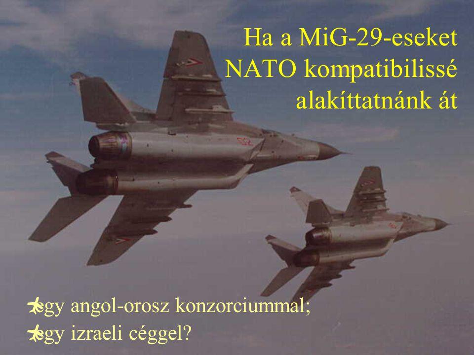 Ha a MiG-29-eseket NATO kompatibilissé alakíttatnánk át  egy angol-orosz konzorciummal;  egy izraeli céggel?