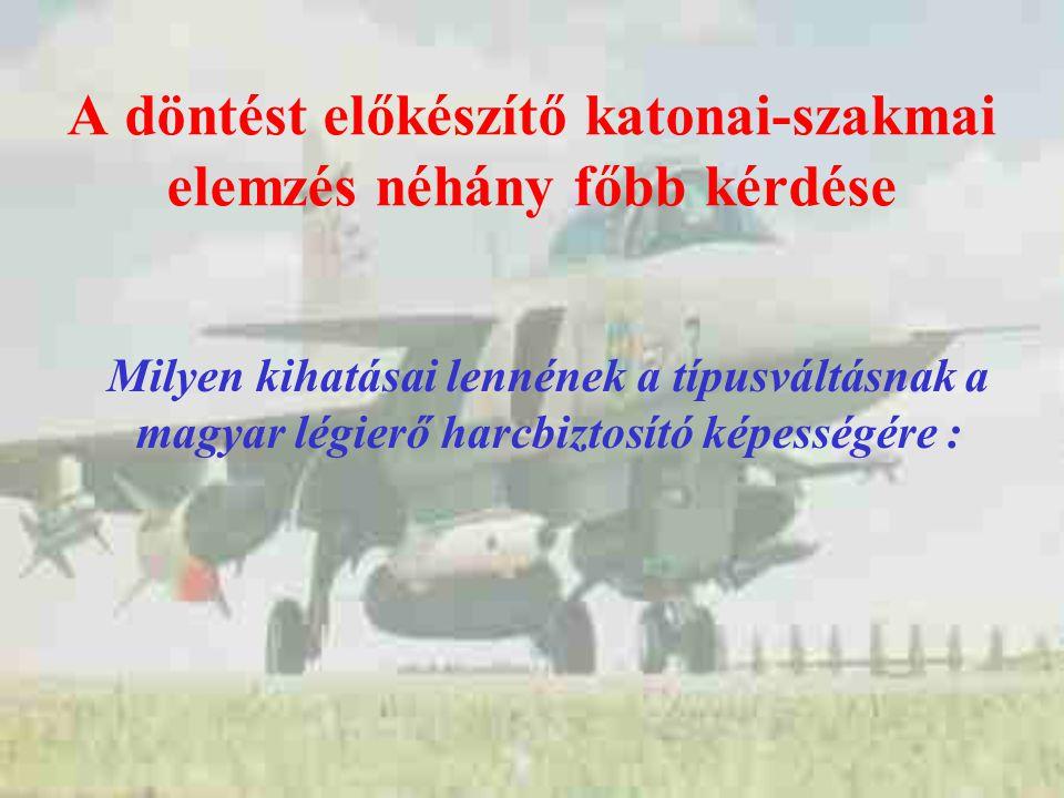 A döntést előkészítő katonai-szakmai elemzés néhány főbb kérdése Milyen kihatásai lennének a típusváltásnak a magyar légierő harcbiztosító képességére :
