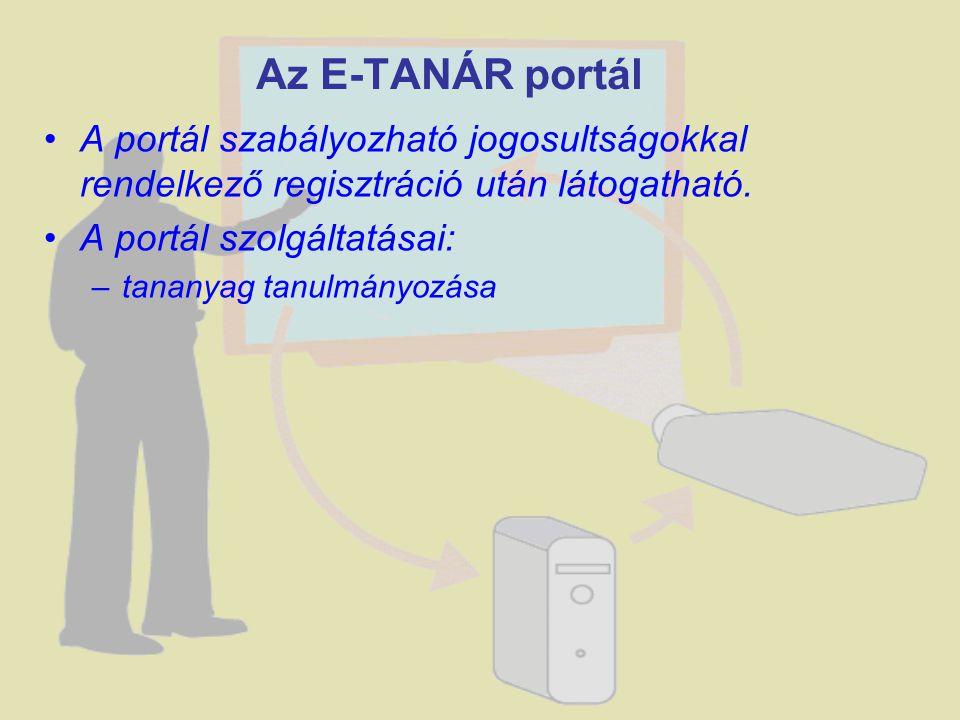 A portál szabályozható jogosultságokkal rendelkező regisztráció után látogatható. A portál szolgáltatásai: –tananyag tanulmányozása Az E-TANÁR portál