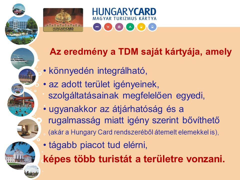 könnyedén integrálható, az adott terület igényeinek, szolgáltatásainak megfelelően egyedi, ugyanakkor az átjárhatóság és a rugalmasság miatt igény szerint bővíthető (akár a Hungary Card rendszeréből átemelt elemekkel is), tágabb piacot tud elérni, képes több turistát a területre vonzani.