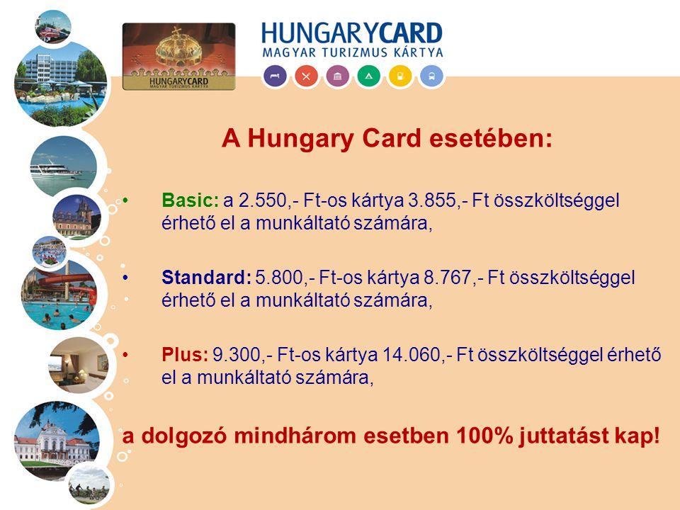 Basic: a 2.550,- Ft-os kártya 3.855,- Ft összköltséggel érhető el a munkáltató számára, Standard: 5.800,- Ft-os kártya 8.767,- Ft összköltséggel érhet
