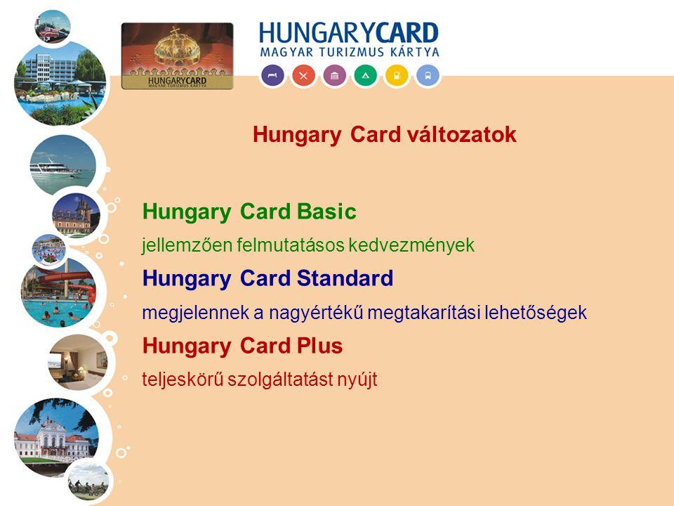 Hungary Card Basic jellemzően felmutatásos kedvezmények Hungary Card Standard megjelennek a nagyértékű megtakarítási lehetőségek Hungary Card Plus teljeskörű szolgáltatást nyújt Hungary Card változatok