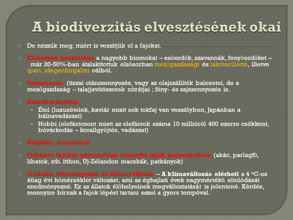  De nézzük meg, miért is veszítjük el a fajokat.  Él ő helyek pusztulása a nagyobb biomokat – es ő erd ő k, szavannák, feny ő erd ő ket – már 20-50%