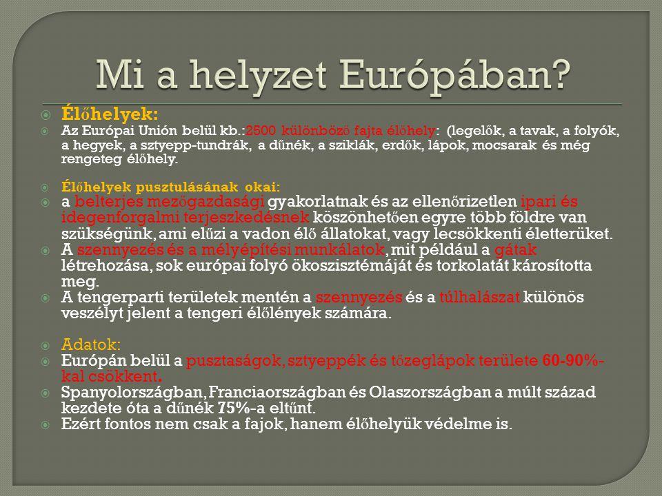  Él ő helyek:  Az Európai Unión belül kb.:2500 különböz ő fajta él ő hely: (legel ő k, a tavak, a folyók, a hegyek, a sztyepp-tundrák, a d ű nék, a