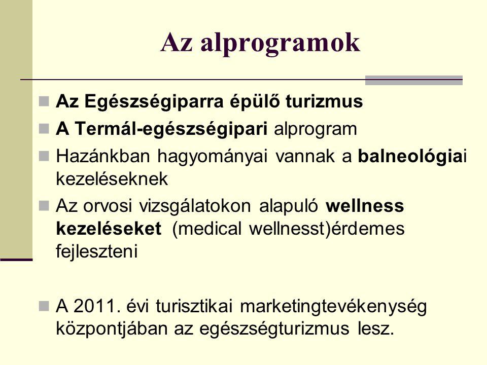 Az alprogramok Az Egészségiparra épülő turizmus A Termál-egészségipari alprogram Hazánkban hagyományai vannak a balneológiai kezeléseknek Az orvosi vizsgálatokon alapuló wellness kezeléseket (medical wellnesst)érdemes fejleszteni A 2011.