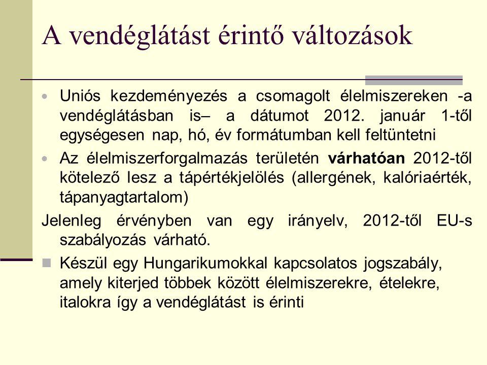 A vendéglátást érintő változások  Uniós kezdeményezés a csomagolt élelmiszereken -a vendéglátásban is– a dátumot 2012.