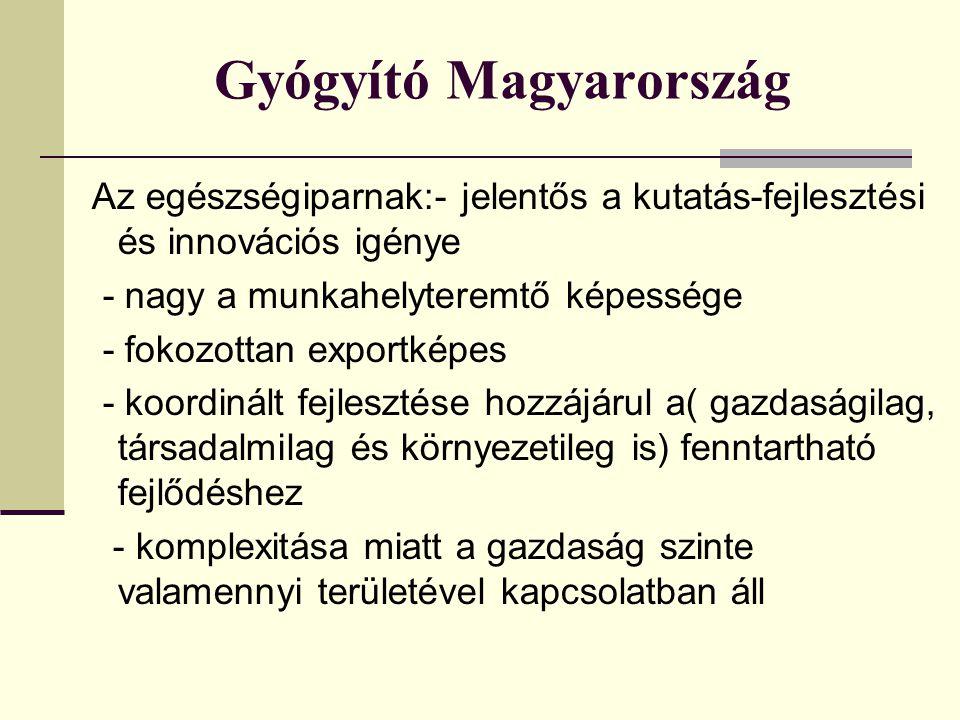 Gyógyító Magyarország Az egészségiparnak:- jelentős a kutatás-fejlesztési és innovációs igénye - nagy a munkahelyteremtő képessége - fokozottan exportképes - koordinált fejlesztése hozzájárul a( gazdaságilag, társadalmilag és környezetileg is) fenntartható fejlődéshez - komplexitása miatt a gazdaság szinte valamennyi területével kapcsolatban áll