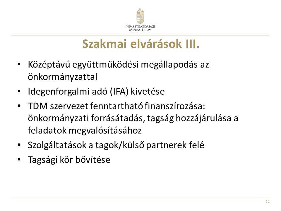 12 Szakmai elvárások III. Középtávú együttműködési megállapodás az önkormányzattal Idegenforgalmi adó (IFA) kivetése TDM szervezet fenntartható finans