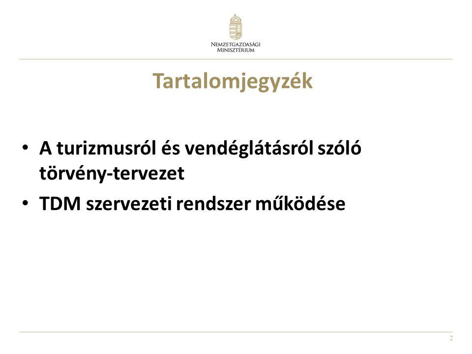 2 Tartalomjegyzék A turizmusról és vendéglátásról szóló törvény-tervezet TDM szervezeti rendszer működése