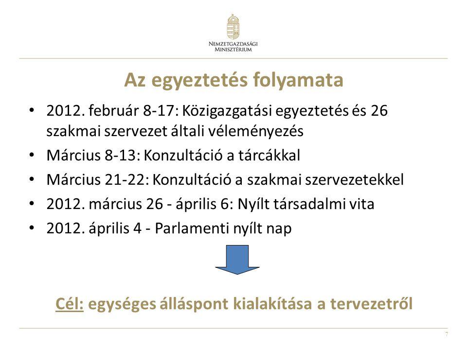 7 Az egyeztetés folyamata 2012. február 8-17: Közigazgatási egyeztetés és 26 szakmai szervezet általi véleményezés Március 8-13: Konzultáció a tárcákk