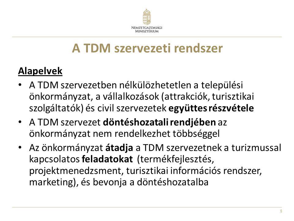 8 A TDM szervezeti rendszer Alapelvek A TDM szervezetben nélkülözhetetlen a települési önkormányzat, a vállalkozások (attrakciók, turisztikai szolgált