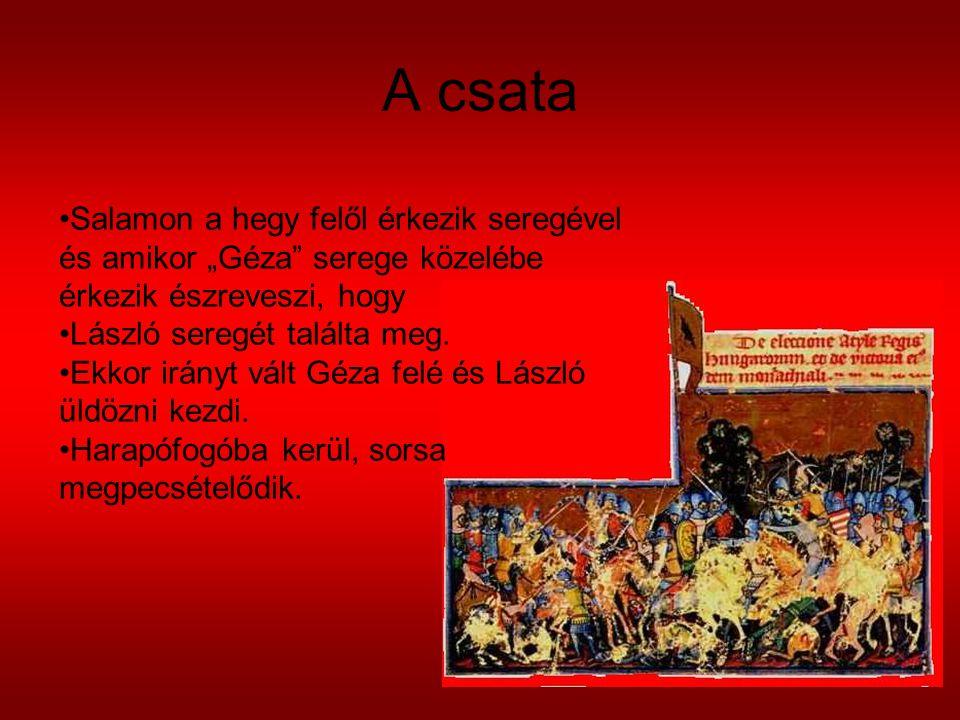 """A csata Salamon a hegy felől érkezik seregével és amikor """"Géza"""" serege közelébe érkezik észreveszi, hogy László seregét találta meg. Ekkor irányt vált"""