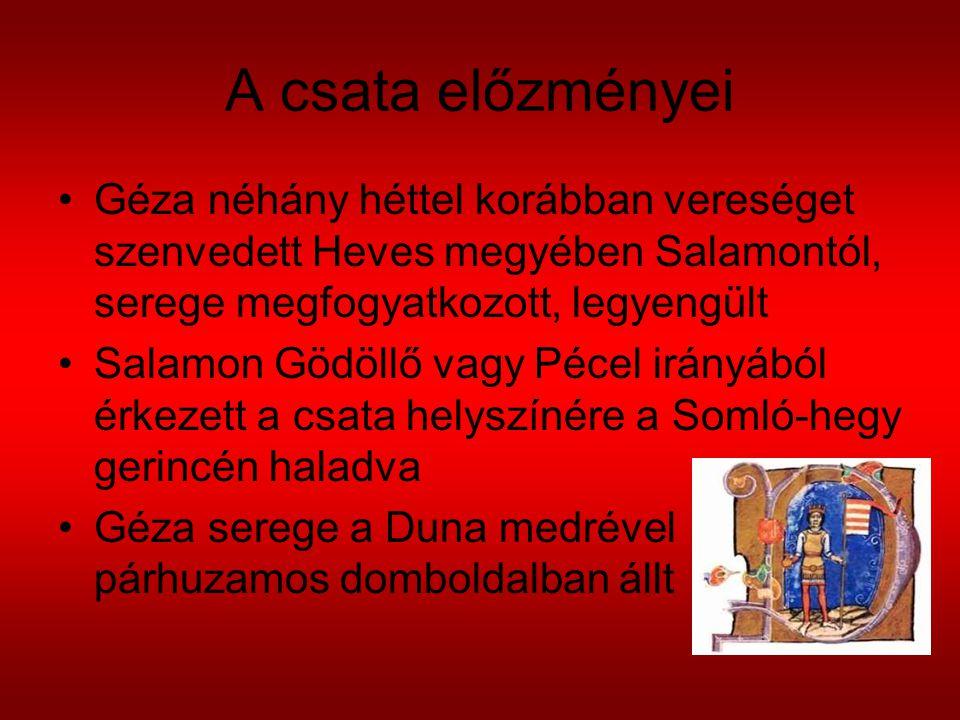 A csata előzményei Géza néhány héttel korábban vereséget szenvedett Heves megyében Salamontól, serege megfogyatkozott, legyengült Salamon Gödöllő vagy