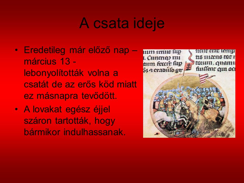 A csata ideje Eredetileg már előző nap – március 13 - lebonyolították volna a csatát de az erős köd miatt ez másnapra tevődött. A lovakat egész éjjel