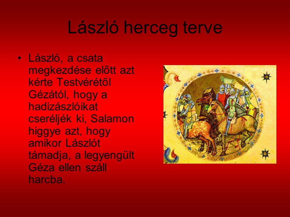 László herceg terve László, a csata megkezdése előtt azt kérte Testvérétől Gézától, hogy a hadizászlóikat cseréljék ki, Salamon higgye azt, hogy amiko