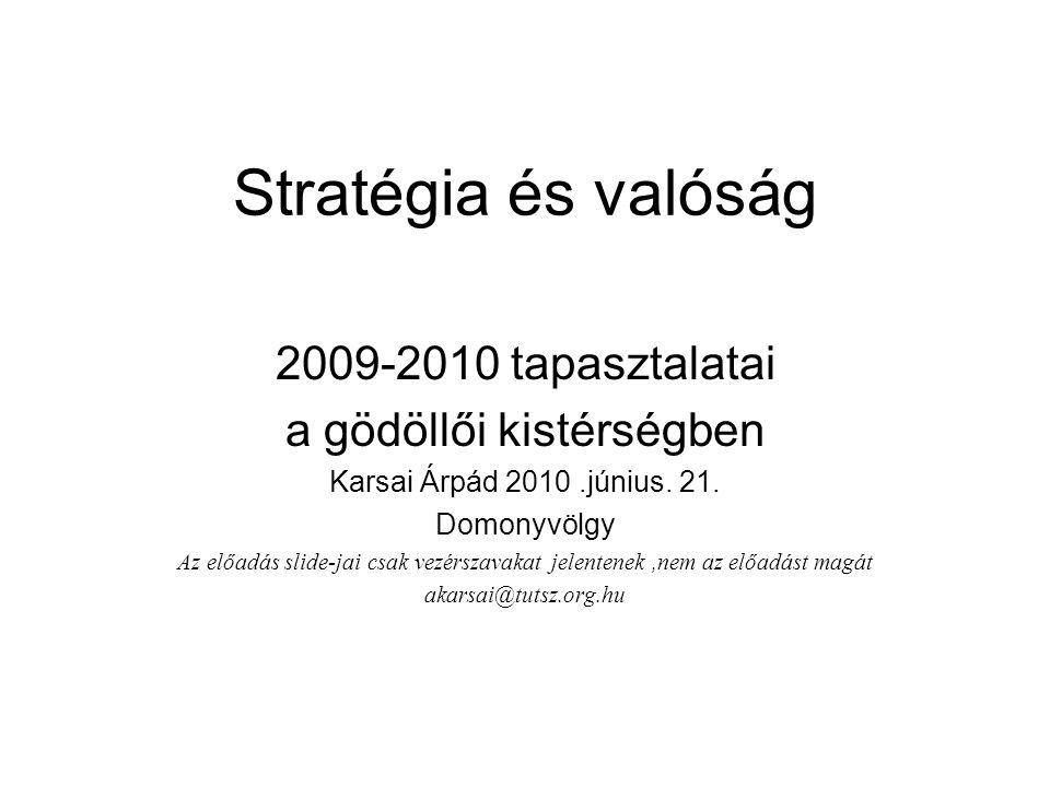 Stratégia és valóság 2009-2010 tapasztalatai a gödöllői kistérségben Karsai Árpád 2010.június. 21. Domonyvölgy Az előadás slide-jai csak vezérszavakat
