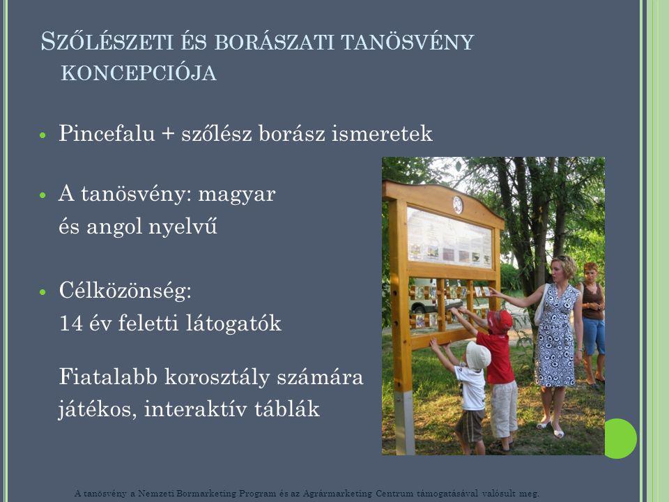 S ZŐLÉSZETI ÉS BORÁSZATI TANÖSVÉNY KONCEPCIÓJA Pincefalu + szőlész borász ismeretek A tanösvény: magyar és angol nyelvű Célközönség: 14 év feletti látogatók Fiatalabb korosztály számára játékos, interaktív táblák A tanösvény a Nemzeti Bormarketing Program és az Agrármarketing Centrum támogatásával valósult meg.