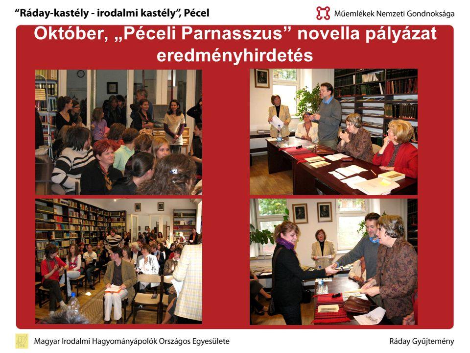 """Október, """"Péceli Parnasszus"""" novella pályázat eredményhirdetés"""