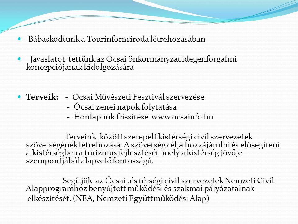 Bábáskodtunk a Tourinform iroda létrehozásában Javaslatot tettünk az Ócsai önkormányzat idegenforgalmi koncepciójának kidolgozására Terveik: - Ócsai Művészeti Fesztivál szervezése - Ócsai zenei napok folytatása - Honlapunk frissítése www.ocsainfo.hu Terveink között szerepelt kistérségi civil szervezetek szövetségének létrehozása.