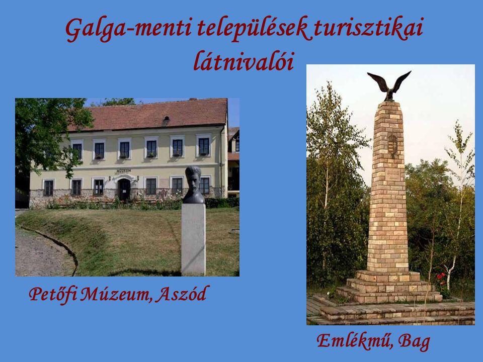 Galga-menti települések turisztikai látnivalói Petőfi Múzeum, Aszód Emlékmű, Bag